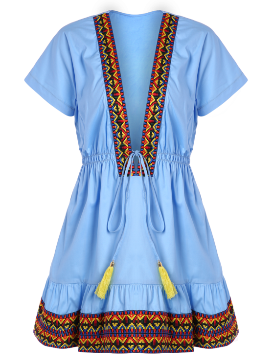 Embroidered Plunging Neckline Dress - BLUE S Mobile