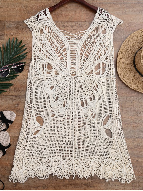 Crochet Butterfly Cover Up Tunic Dress - BEIGE ONE SIZE Mobile