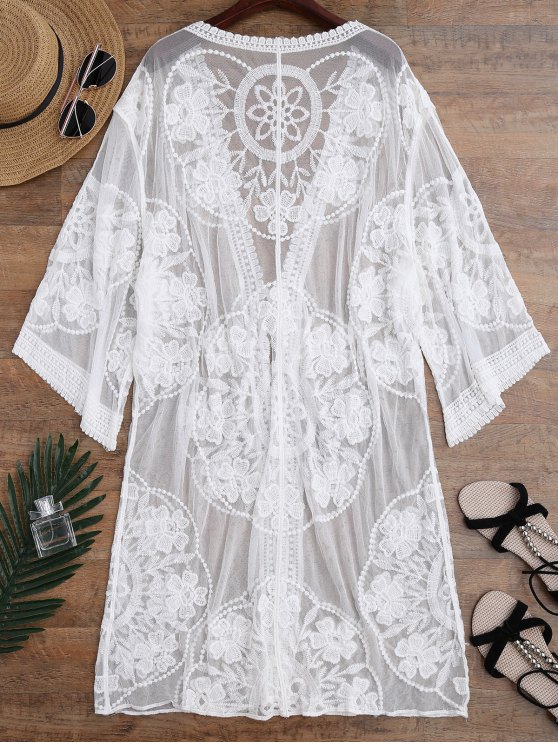 Sheer Lace Tie Front Kimono Cover Up - WHITE ONE SIZE Mobile