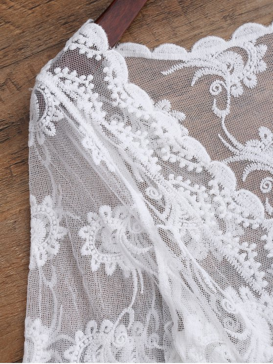 Embroidered Sheer Lace Beach Cover Up - WHITE ONE SIZE Mobile
