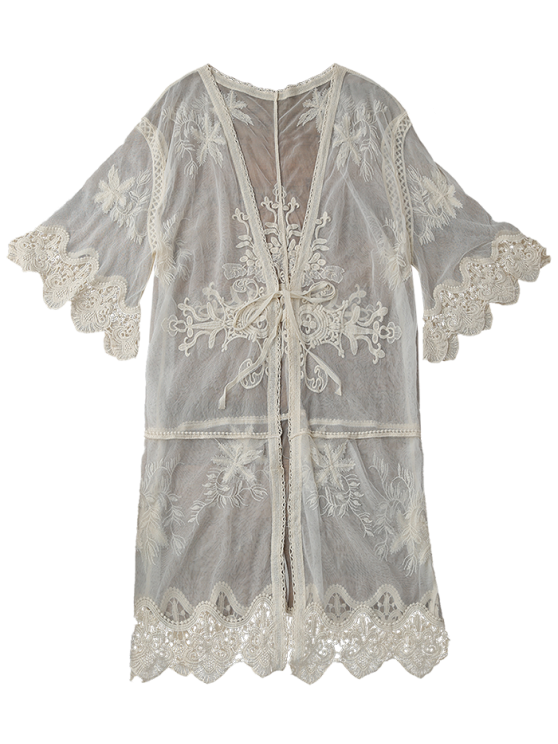 Sheer Tulle Beach Kimono Cover Up - BEIGE ONE SIZE Mobile