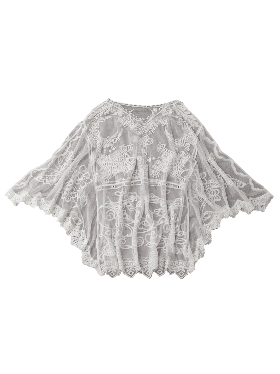 Sheer Tulle Beach Cover Up Dolman Top - WHITE ONE SIZE Mobile