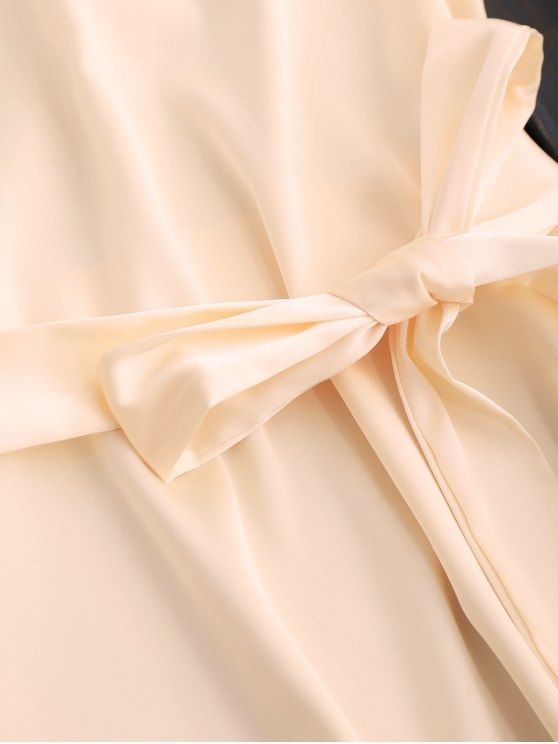 Mini Cami Slip Dress With Choker Strap - APRICOT M Mobile