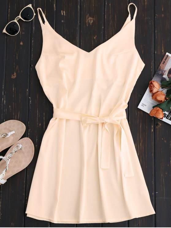 outfit Mini Cami Slip Dress With Choker Strap - APRICOT M