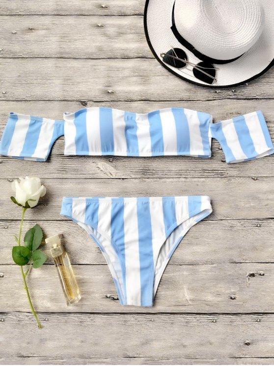 affordable Striped Off The Shoulder Bikini Set - BLUE S