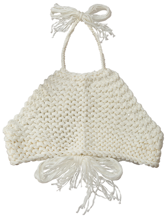 High Neck Crochet Crop Top - OFF-WHITE ONE SIZE Mobile