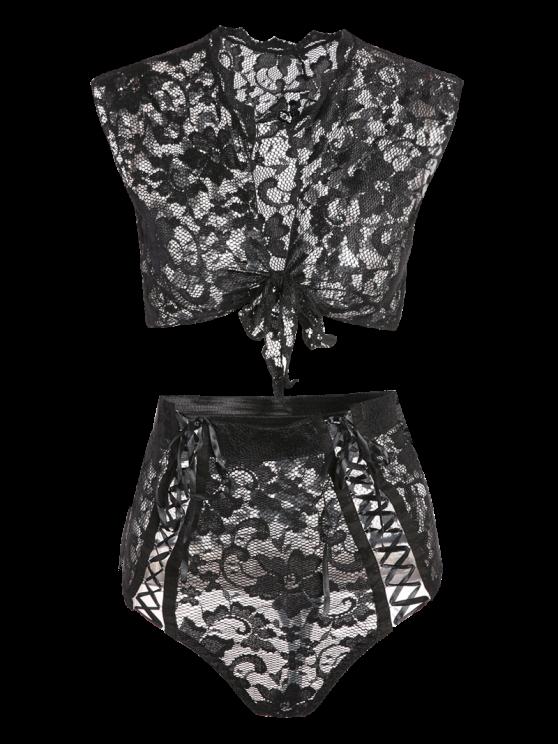 Lace Black V Neck High Waisted Bra Set - BLACK S Mobile