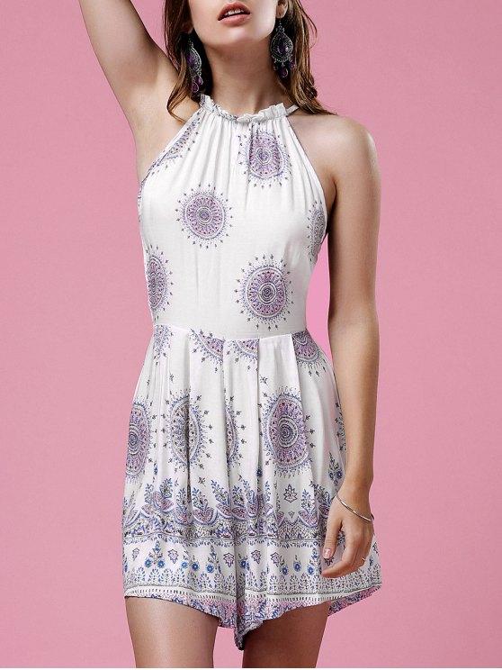 women's Ethnic Print High Neck Backless Romper - WHITE L