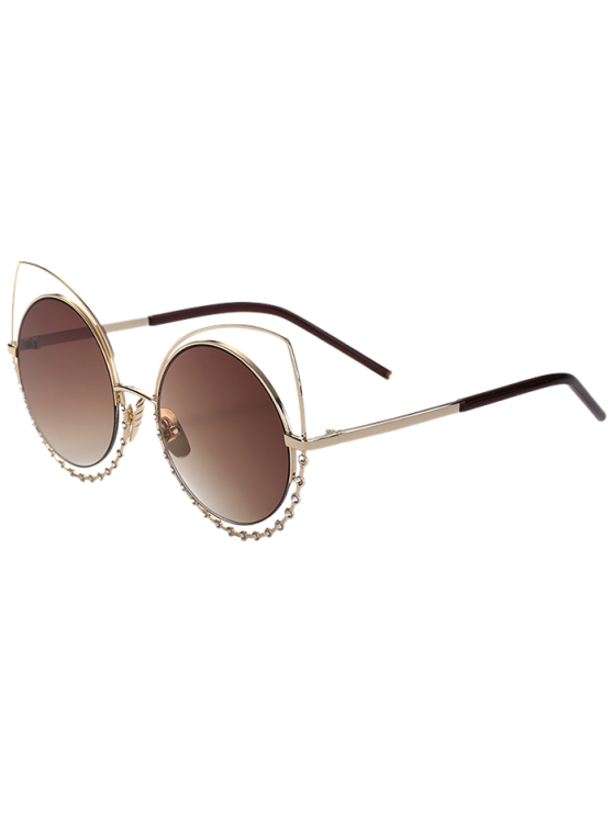 womens Rhinestone Round Hollow Out Cat Eye Sunglasses - TEA-COLORED
