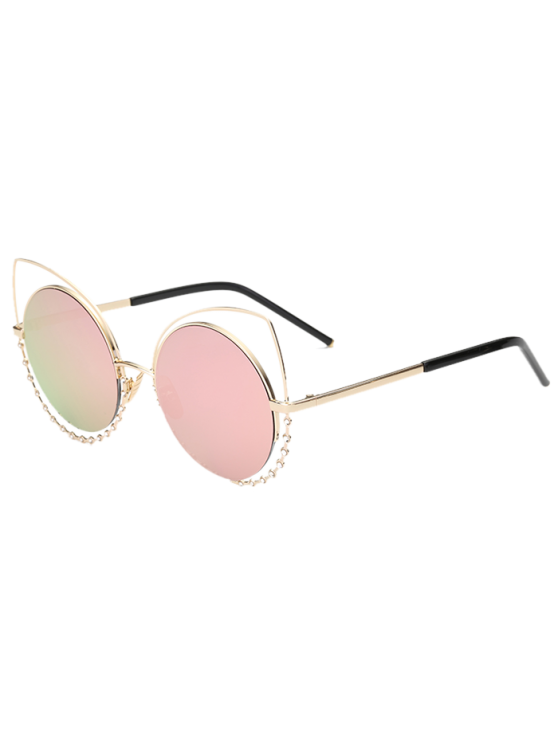 women Rhinestone Round Hollow Out Cat Eye Sunglasses - PINK