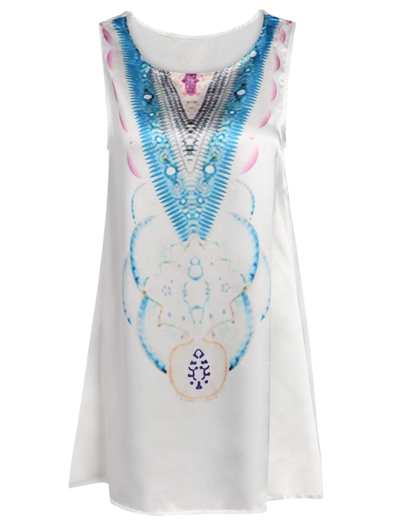 Round Neck Abstract Print Mini Dress - LIGHT BLUE S Mobile