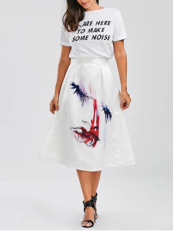 fashion Floral Satin Midi Puffball Skirt - FLORAL S