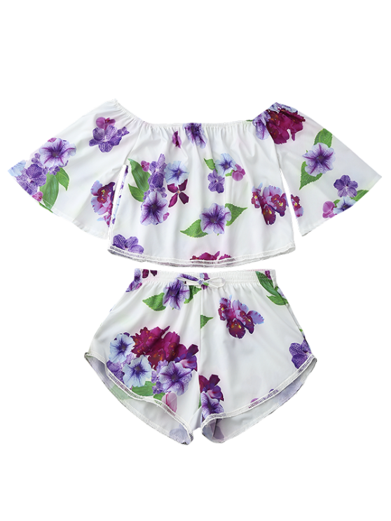 Off Shoulder Floral Crop Top and Shorts - WHITE S Mobile