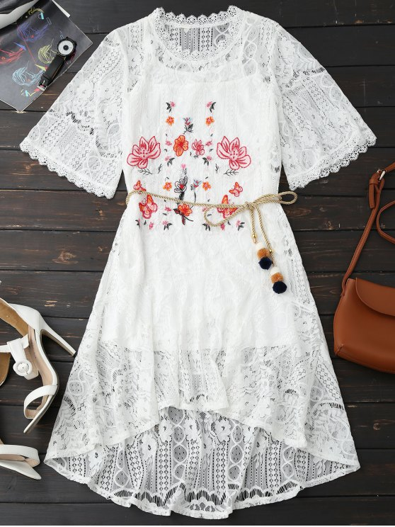 outfits Rope Belt Lace Floral Dress With Tank Top - WHITE XL