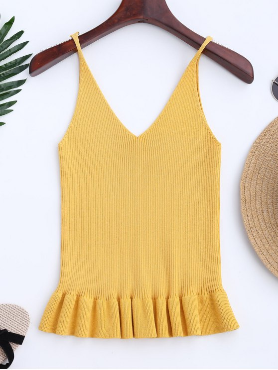 trendy Knitting Ruffles Ribbed Tank Top - YELLOW ONE SIZE