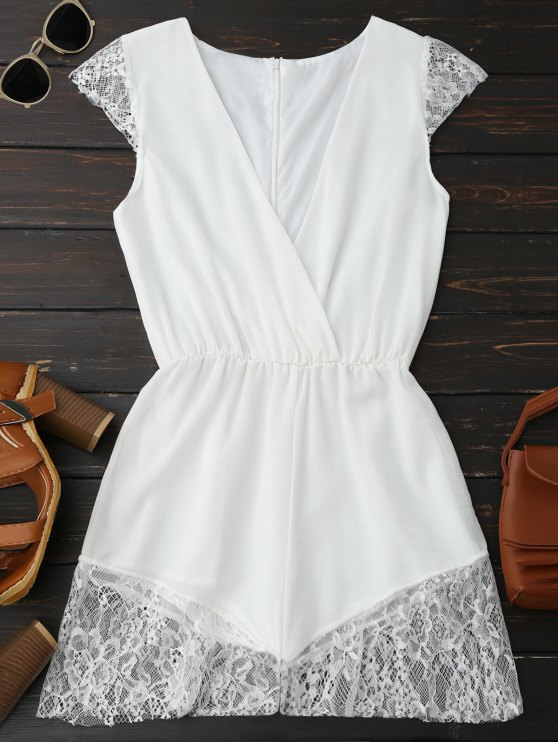 Lace Panel Plunge sans manches Chiffon Romper - Blanc XL