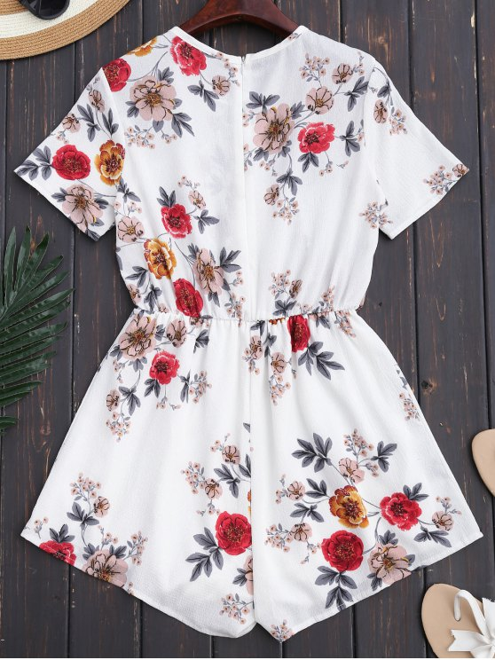 Lace Up Floral Choker Romper - WHITE S Mobile
