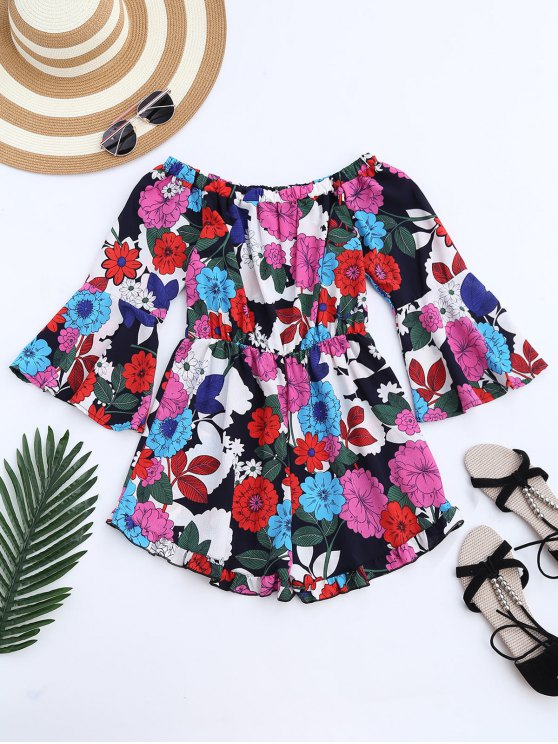 Flare Sleeve Floral Off The Shoulder Romper - Floral M