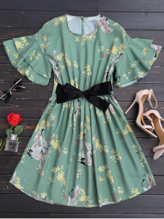 sale Ruffles Belted Floral A-Line Dress - FLORAL L