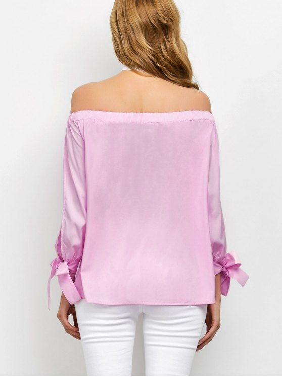 Split Sleeve Off The Shoulder Blouse - PINK L Mobile