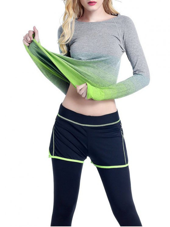 Ombre Yoga Gym T-Shirt - GREEN L Mobile