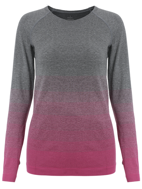 Ombre Yoga Gym T-Shirt - ROSE RED M Mobile
