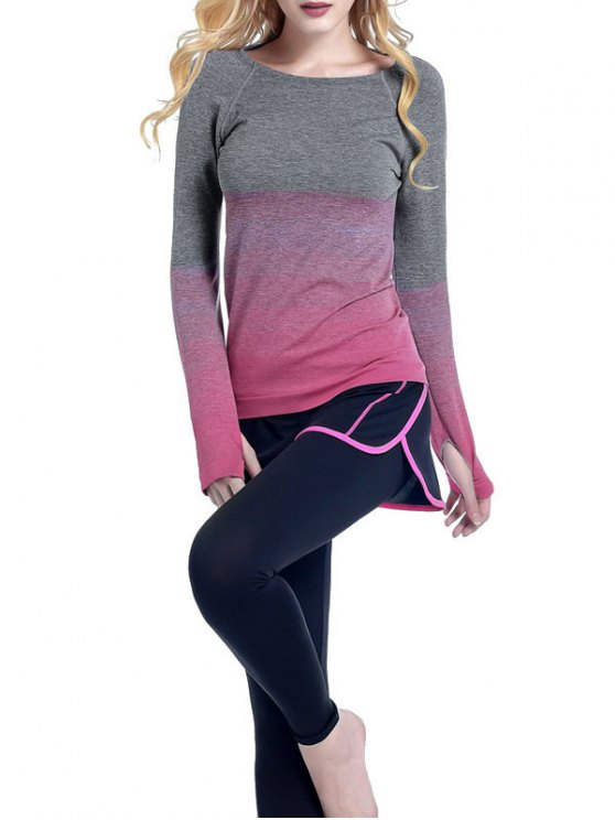 Ombre Yoga Gym T-shirt - rose S