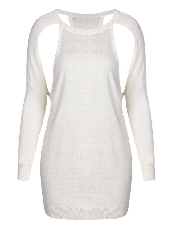 Crew Neck Cut Out Sweater - WHITE 2XL Mobile