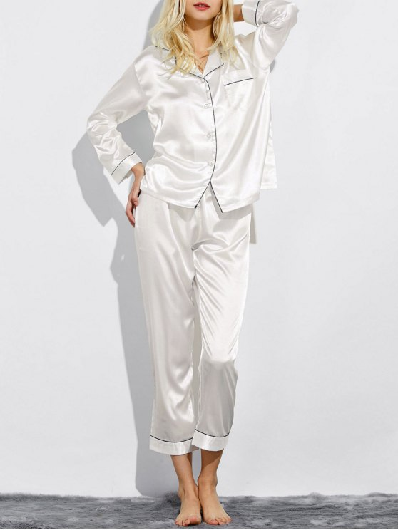 online Fitting Silk Nightwear Pajamas - WHITE L