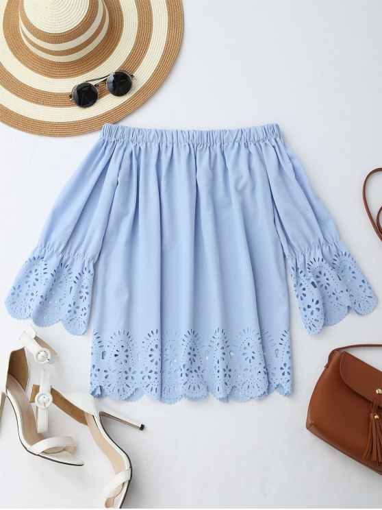 women Off The Shoulder Laser Cut Top - LIGHT BLUE L
