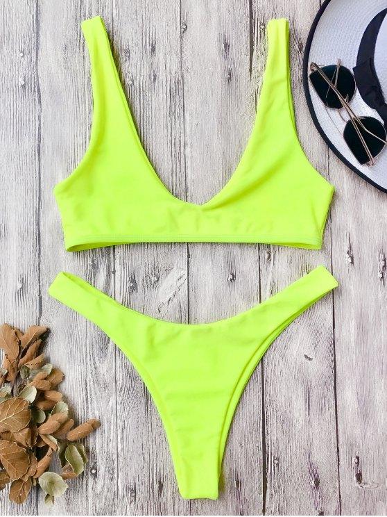 High Cut Scoop Bikini Set NEON YELLOW: Bikinis M | ZAFUL