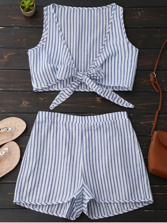 Blusa a Rayas de Escote Pico de Cierre con Nudo Frontal con Shorts - Raya Azul L