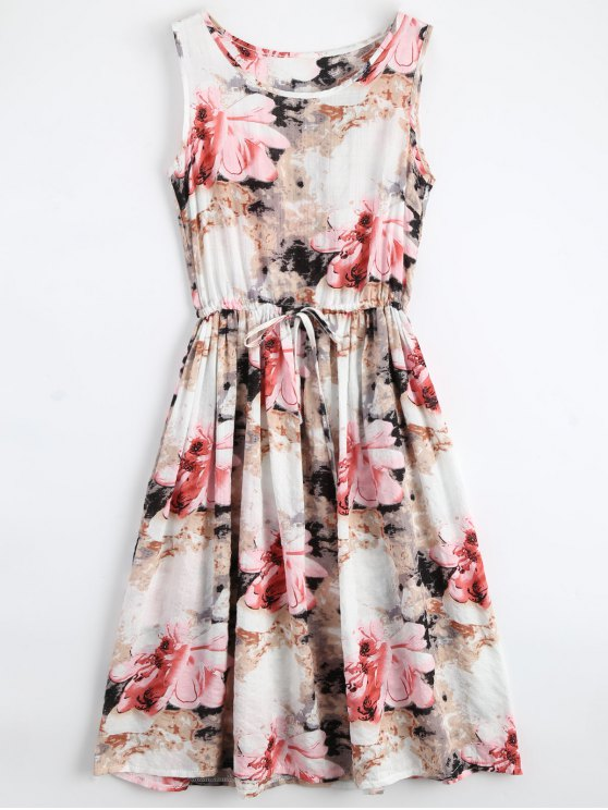 online Midi Sleeveless Drawstring Floral Dress - FLORAL S