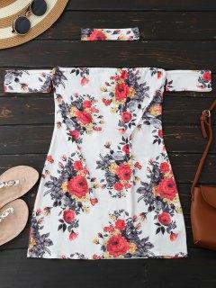 Choker Floral Bodycon Mini Tube Dress - White L