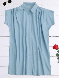 Oversized Button Up Denim Shirt Dress - Light Blue 2xl