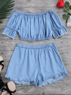 Off The Shoulder Cropped Top And Ruffles Shorts - Blue S