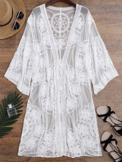 Sheer Lace Tie Front Kimono Cover Up - White One Size