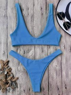 Ensemble Bikini Scoop à Décolleté Plongeant - Bleu M