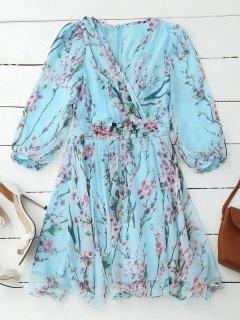 Floral Surplice Flowy Dress - Pinkish Blue Xl
