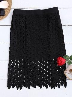 Lace Cut Out Sheath Skirt - Black M