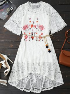 Rope Belt Lace Floral Dress With Tank Top - White Xl
