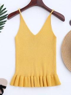 Knitting Ruffles Ribbed Tank Top - Yellow