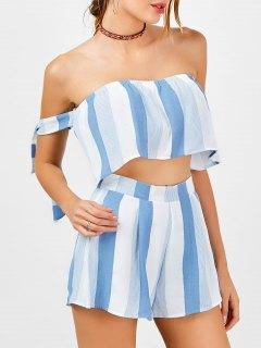 Shorts à Rayures Sans Bretelles Et Shorts à Taille Haute - Bleu Et Blanc Xl