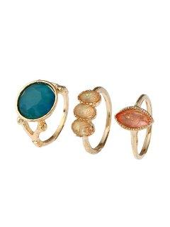 Artificial Gemstone Geometric Ring Set - Golden