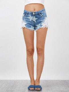 Lace Embellished Star Cut Off Jean Shorts - Denim Blue 2xl