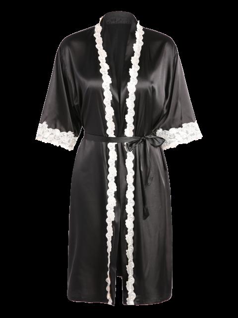 latest Belted Satin Sleep Kimono Robe - BLACK M Mobile