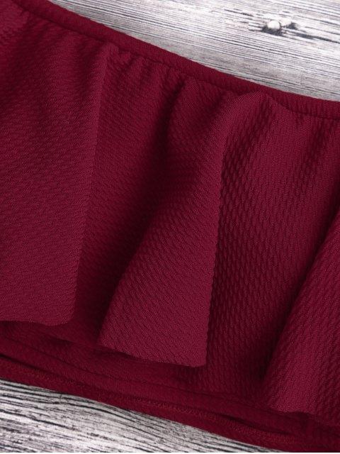 affordable Scalloped Off The Shoulder Bikini Set - BURGUNDY M Mobile
