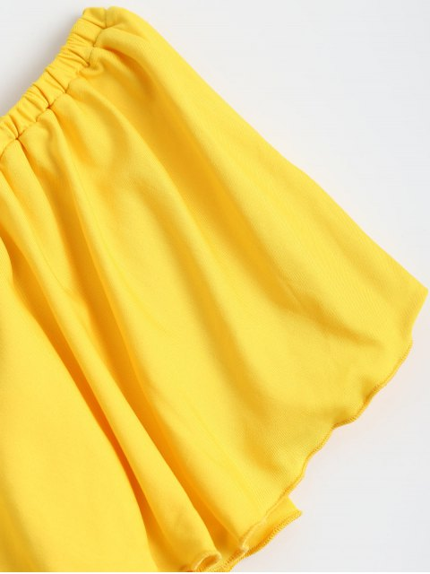 chic Off Shoulder Ruffle Cropped Top - YELLOW XL Mobile