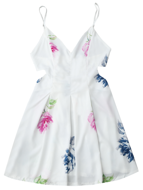 affordable Backless Cut Out Floral Dress - WHITE S Mobile