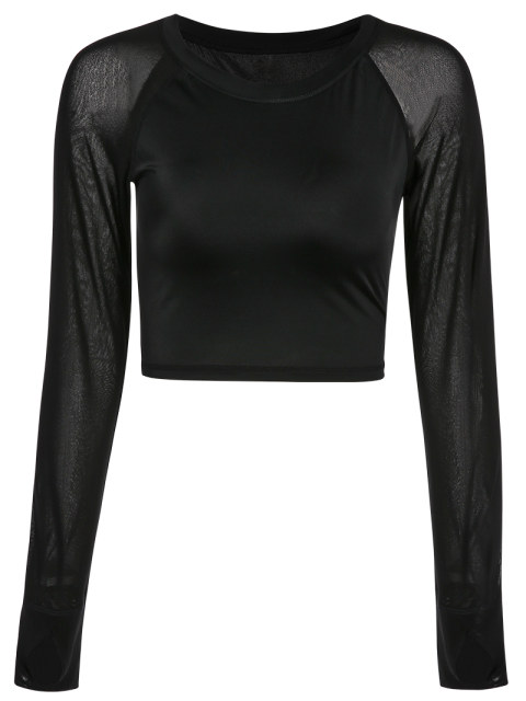 chic Mesh Panel Cropped Sporty Thumbhole Top - BLACK XL Mobile